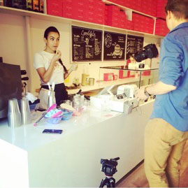 Very first Unicorn Latte Filming via blogTO